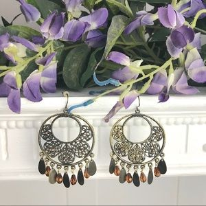 Boho Style Round filigree earrings with beads